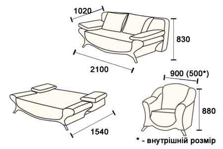 Схема трансформации и размеры